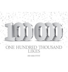 anniversary or event 100000 silver 3d numbers vector image