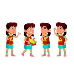 Asian girl kindergarten kid poses set vector