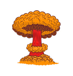 Atomic bomb explosion in comic style design vector