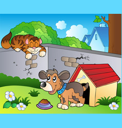 Backyard with cartoon cat and dog vector