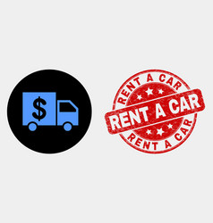 banking delivery icon and scratched rent a vector image