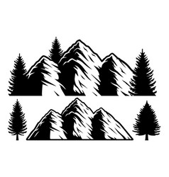 black and white mountains and trees vector image
