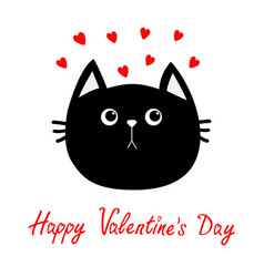 Black cat head icon red heart set cute funny vector