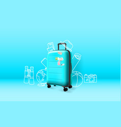 blue plastic suitcase on blue background time to vector image