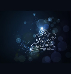 blue sparkling merry christmas and happy new year vector image
