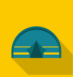 Blue touristic camping tent icon flat style vector