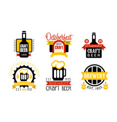 brewery craft beer retro labels set oktoberfest vector image