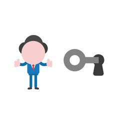 businessman character unlock key and showing vector image