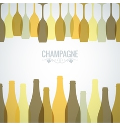 Champagne bottle glass design background vector