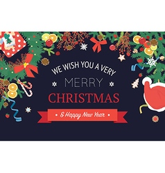 Christmas and happy new year banner vector image