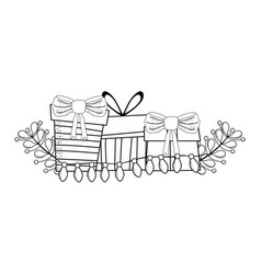 Christmas gifts boxes with wreath vector