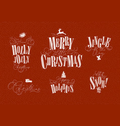christmas letterings red vector image