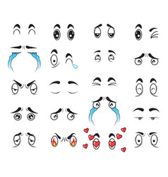 collection cute cartoon eyes set vector image