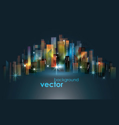 colorful night city skyline vector image