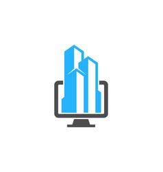 computer real estate logo icon design vector image