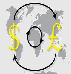 Currency exchange pound sterling dollar on world m vector