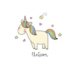 Cute cartoon unicorn vector
