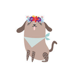 Cute dog wearing flower crown and bandana bib vector
