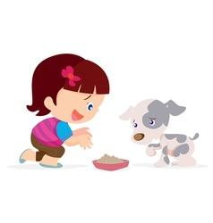 Cute girl give food dog vector