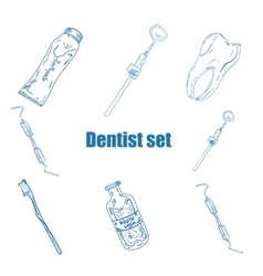 Dental icons reflection theme vector