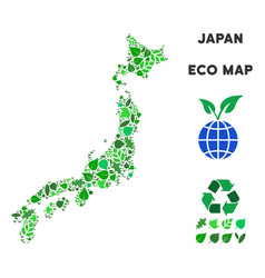 Eco green collage japan map vector