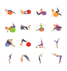 exercises poses flat icons vector image