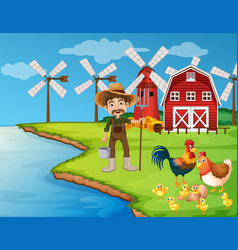Farm scene with farmer and chickens vector