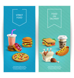 fast food cartoon banners vector image