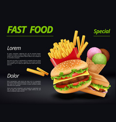 fast food poster burger ingredients beef tomato vector image