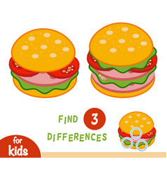 Find differences education game burger vector