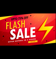 Flash sale advertising banner for discount and vector