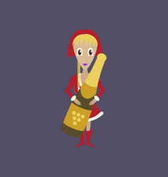 Flat on background of christmas girl champagne vector