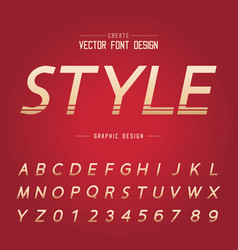 font and alphabet gold style letter design vector image
