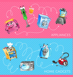 funny household appliances banner set vector image