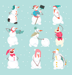 Funny snowmen characters set in different vector