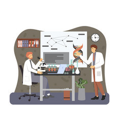 Genetic science laboratory scientists in white vector