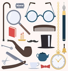 Gentlemens vintage design elements set vector