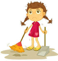 Girl cleaning floor vector
