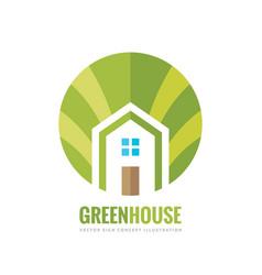 Green house building - logo concept vector