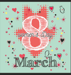 greeting card with 8 march womens day 6 vector image