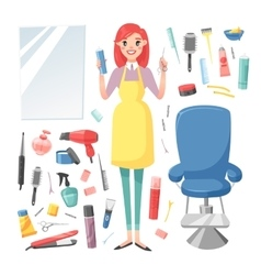 Hairdresser barber girl set vector image