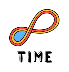 hand draw endless time icon in doodle style vector image