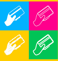 hand holding a credit card four styles of icon on vector image