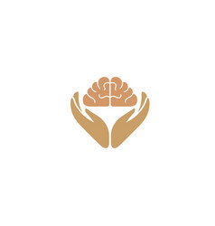 hands care human brain and knowledge for logo vector image
