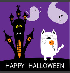 Happy halloween spooky frightened cat holding vector
