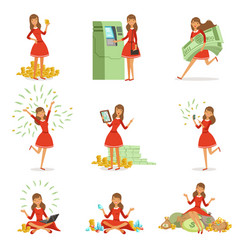 happy young millionaire woman in a red dress vector image vector image