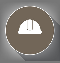 hardhat sign white icon on brown circle vector image