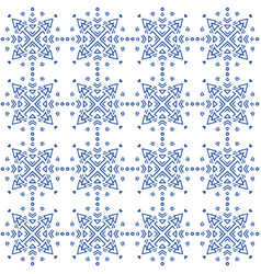 Indigo blue and white seamless geometric pattern vector