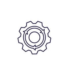 Integration icon gear and arrow line vector
