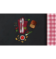 Kitchen table with cutlery and food vector